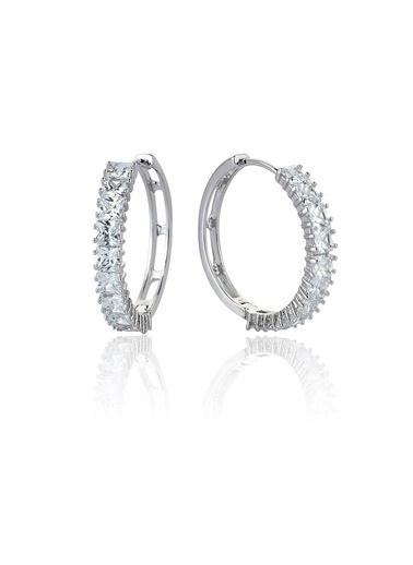 6Ct Pırlanta Efekt Princess Hoop Altın Küpe-Tophills Diamond Co.